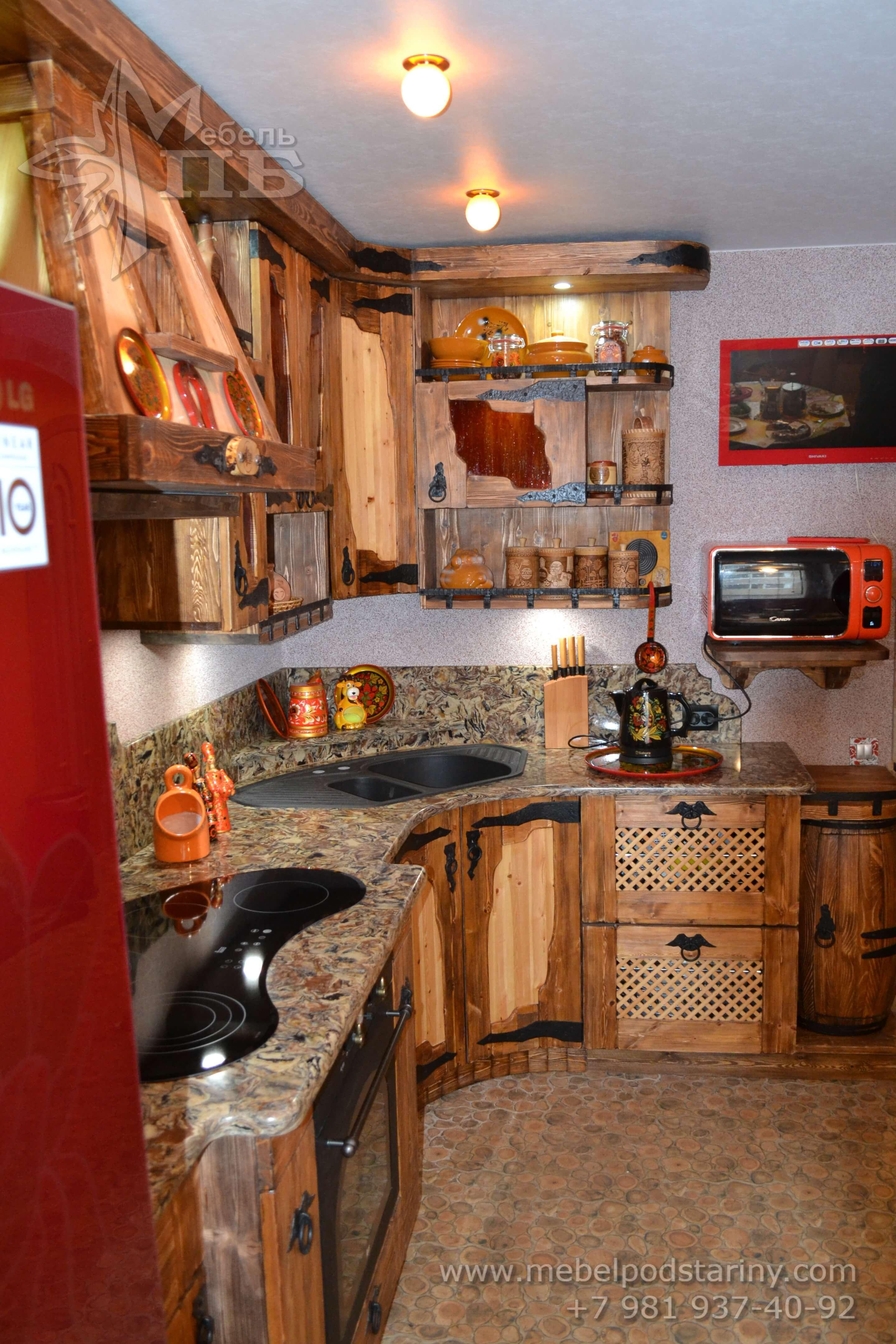 Кухня из состаренной сосны АНТОНИНА (5)