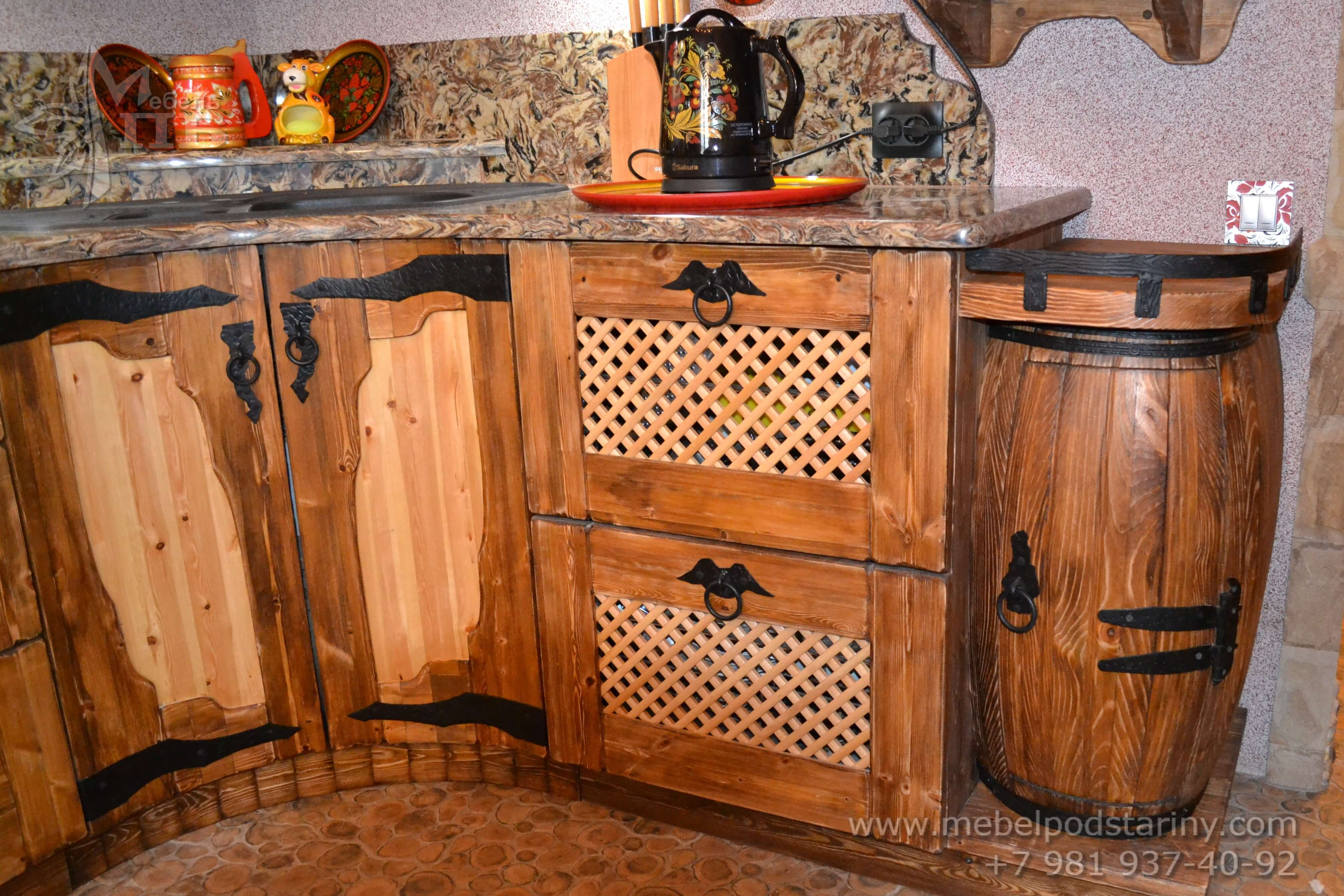 Кухня из состаренной сосны АНТОНИНА (14)