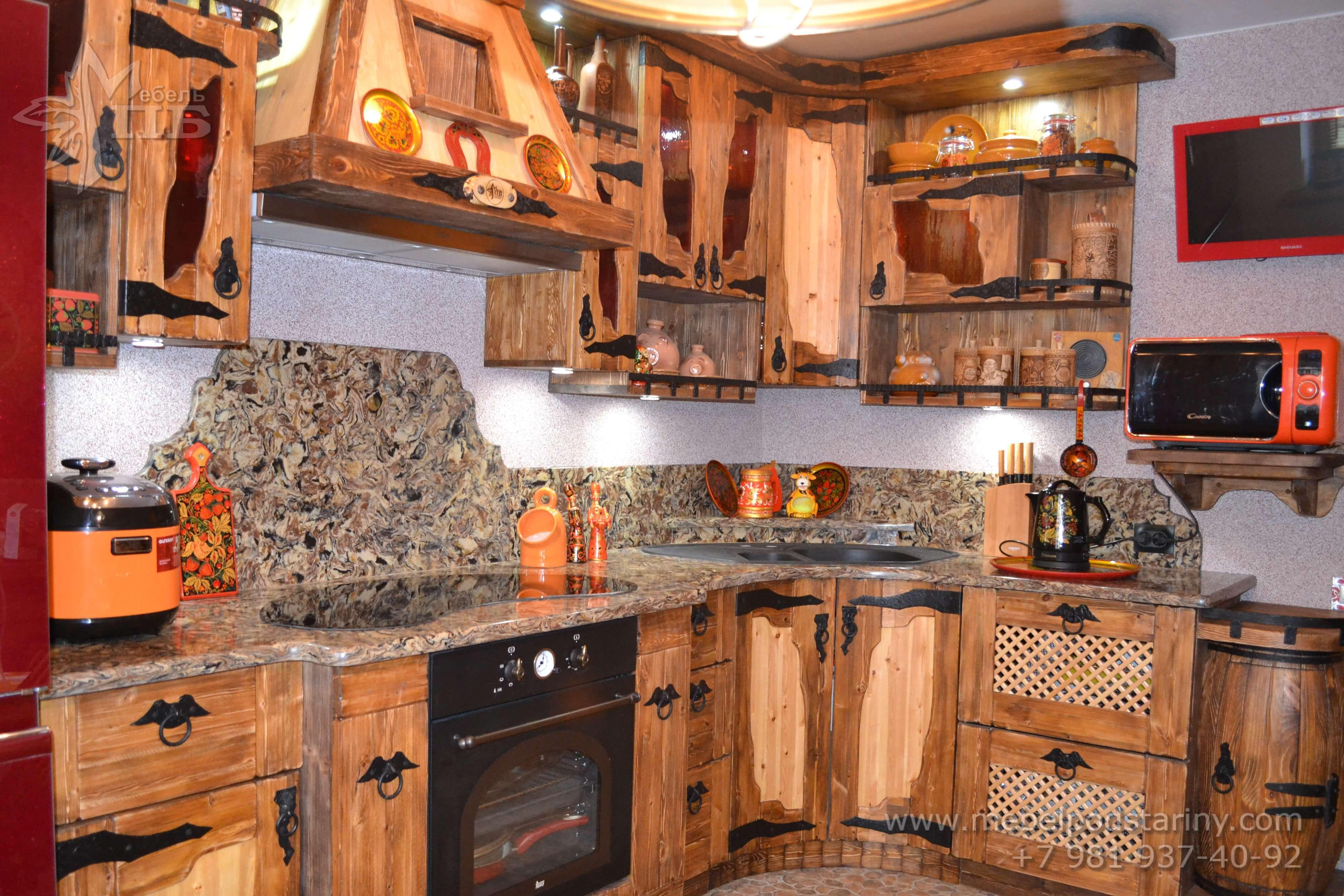 Кухня из состаренной сосны АНТОНИНА (1)