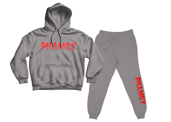 Phamily Pullover Hoodie Sweatsuit ( Heather Grey And Red)