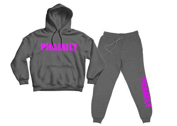 Phamily Pullover Hoodie Sweatsuit (Heather Graphite and Pink)