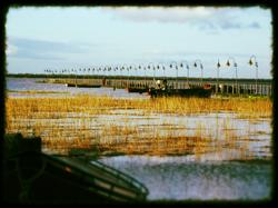 Muelle con el río crecido