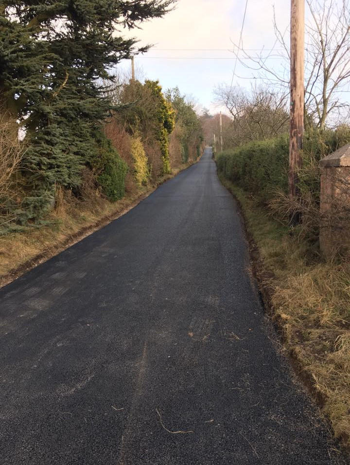 Tarmac farm road in Forfar.