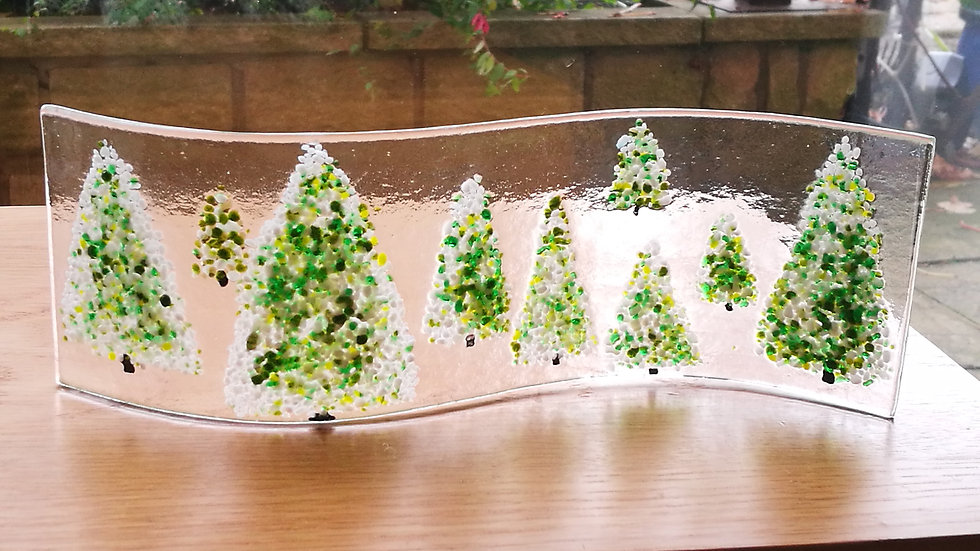 Wave picture - Christmas trees - White/green