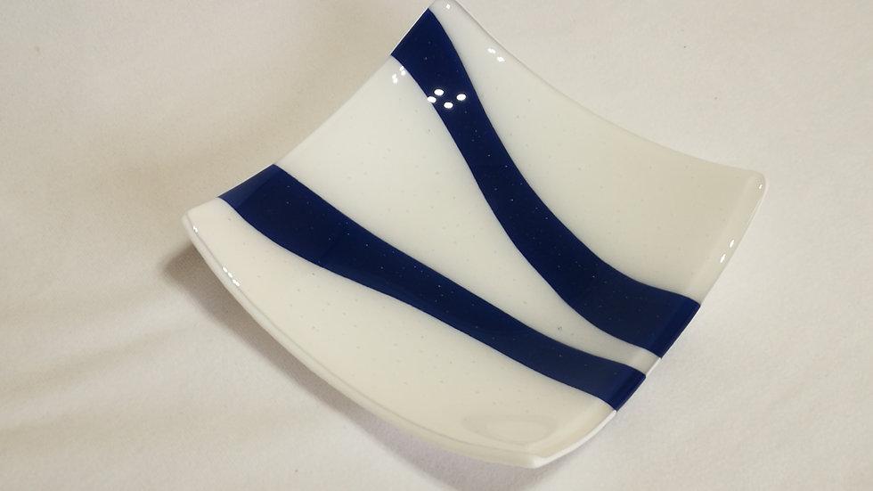 Square platter white with dark blue stripe