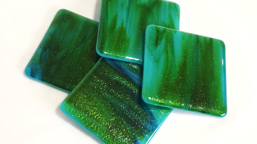 Coaster sparkling green and blue