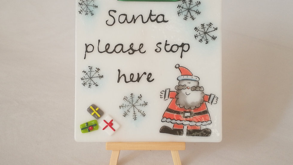 Flat plate/picture - 'Santa, please stop here'