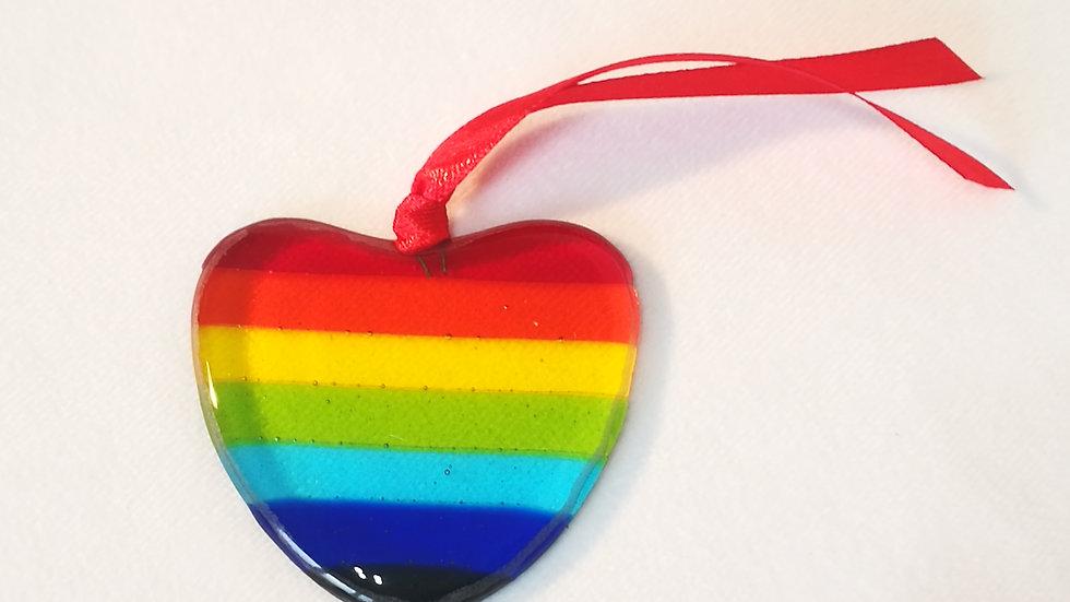 Rainbow heart, bauble/light catcher