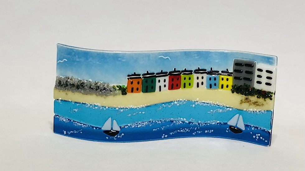 Wave Picture - Seascape with cottages