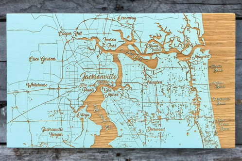 Jacksonville FL Whimsical Map Engraved Art Fire Pine - Jacksonville map