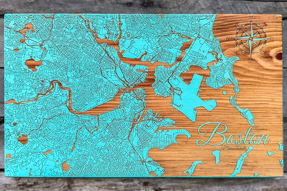 Engraved Art Fire Pine Ridgeland SC Boston MA Street Map