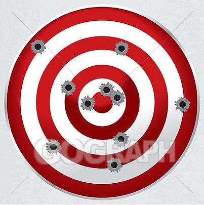 shooting-range-gun-target-with-bullet-ho