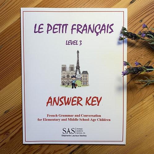 Le Petit Français - Level 3 - Answer Key
