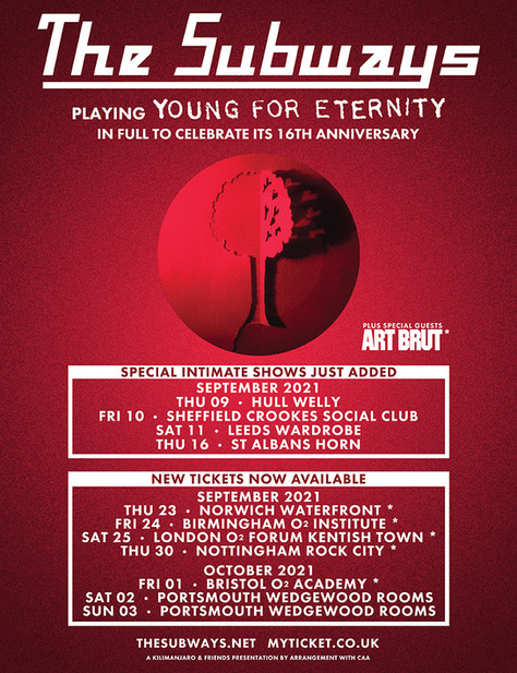 Newly added UK dates for the 'Young For Eternity' anniversary tour! September & October 2021