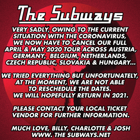 Sadly our upcoming European dates are now cancelled due to the Coronavirus...