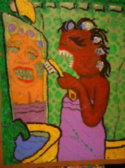 2face mama 24X48 oil on rag