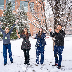 CU Dental School Therapy Dog and Winter Exteriors