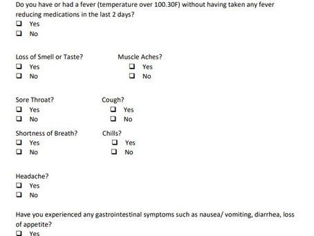 COVID-19 Employee Daily Health Checklist