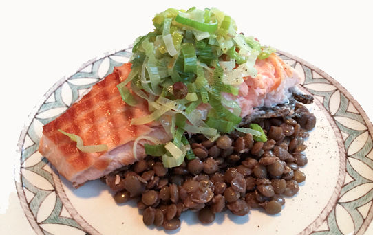 Fjord Trout with Leeks and Lentils