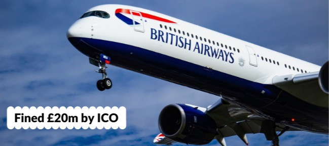 Photo of British Airways plane with sign showing £20m fine from ICO