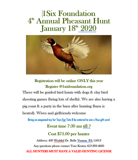 4th Annual 1Six Foundation Pheasant Hunt January 18th