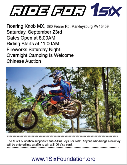 Come out to Roaring Knob & Ride for 1SIX