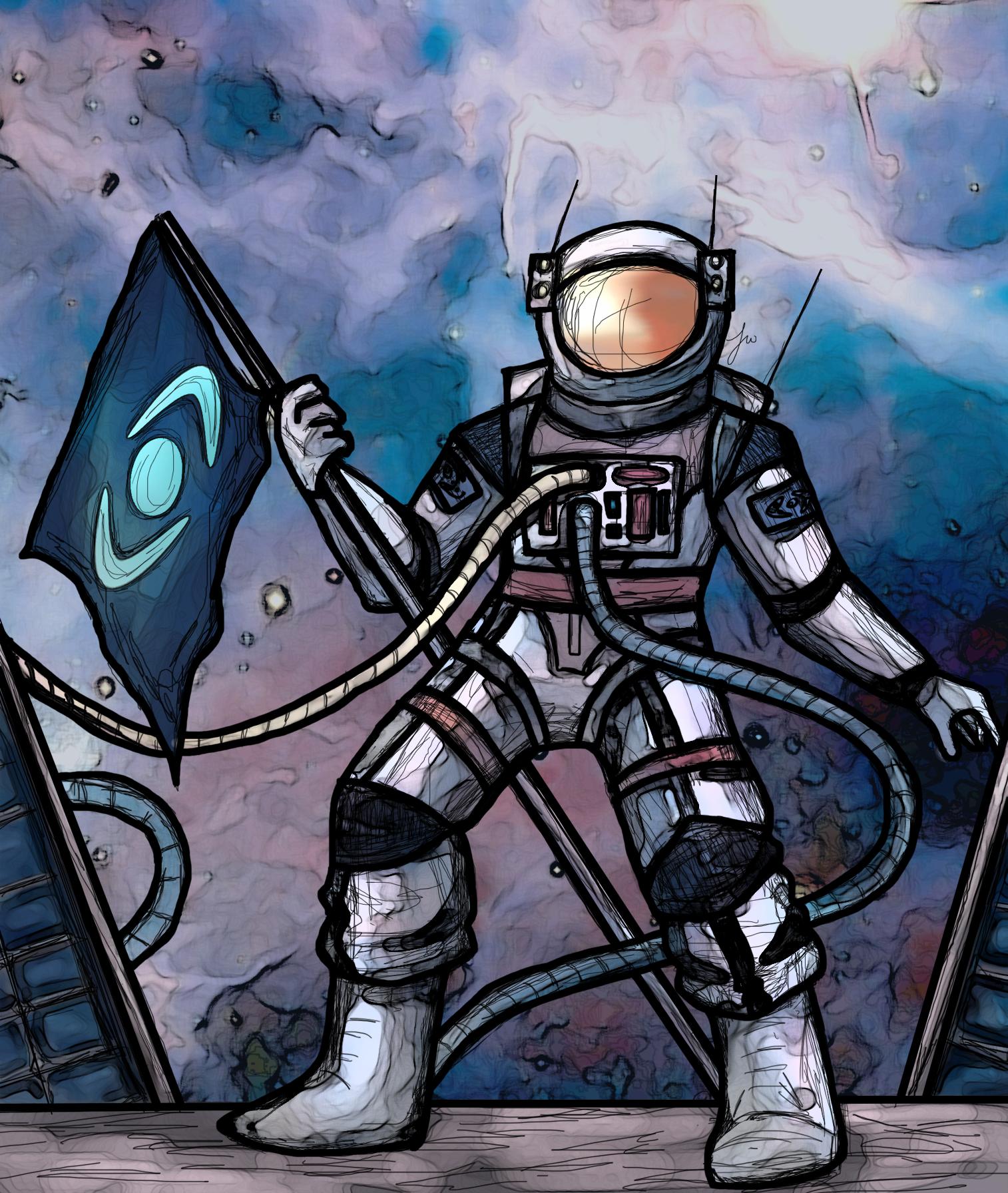 Space World Astronaut Flag