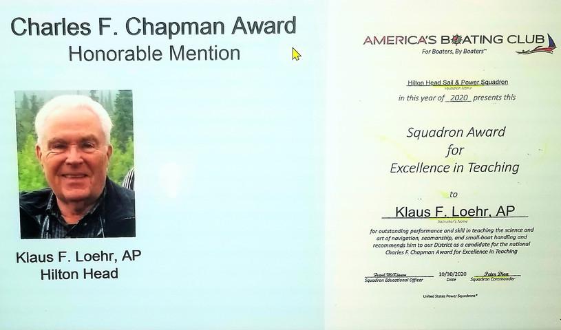 Charles F Chapman Award