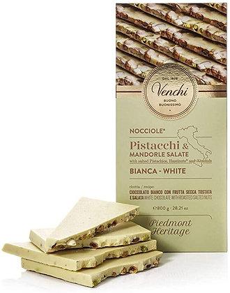 Tavoletta di cioccolato bianco pistacchi e mandorle salate gr.100 -Venchi