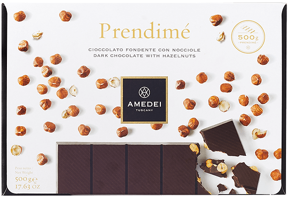 Cioccolato fondente con nocciole Prendimé 500 gr. - Amedei