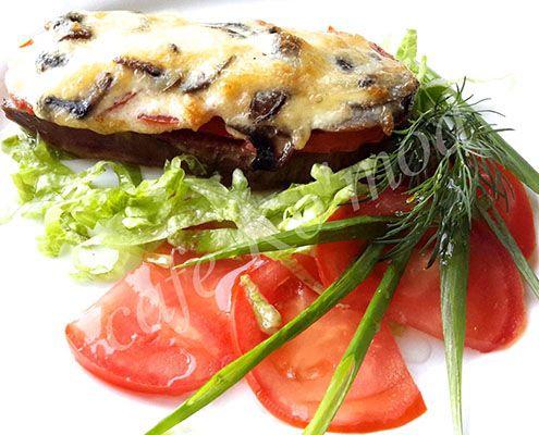 Язычок с овощами под сыром