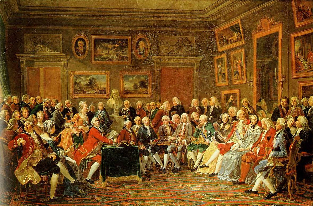 A Salon in Early Modern Revolutionary France. French Salons were a hub of intellectual and culture exchange. Here they are reading Voltaire's L'Orphelin de la Chine, a tragedy about Genghis Khan and his sons in the salon of Madame Geoffrin (Malmaison, 1812).