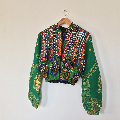 GREEN ENVY Embellished Women's Cropped Bomber