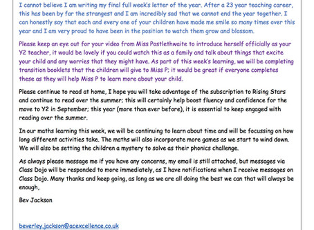 Year 1 Weekly Newsletter 13th July