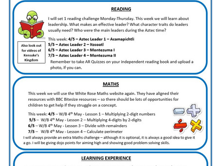 Year 5 Weekly Newsletter 4th May