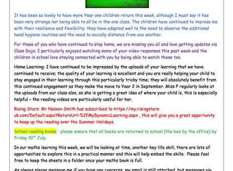 Year 1 Weekly Newsletter 6th July