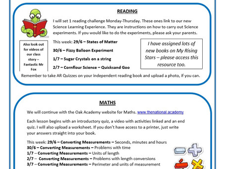 Year 5 Weekly Newsletter 29th June