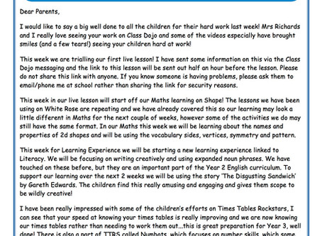 Year 2 Weekly Newsletter 15th June