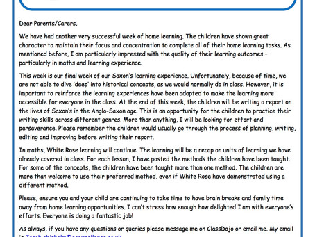 Year 4 Weekly Newsletter 11th May