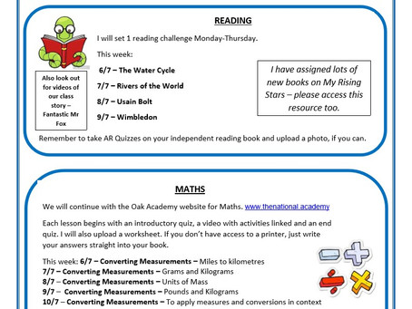 Year 5 Weekly Newsletter 6th July