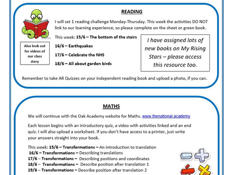 Year 5 Weekly Newsletter 15th June