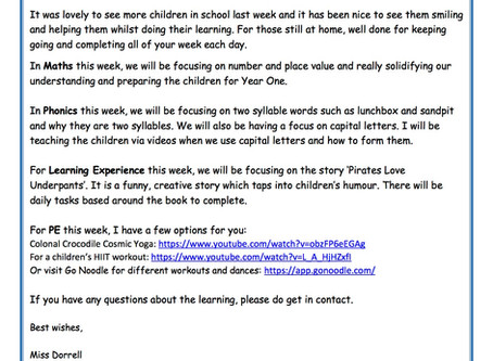 Reception Weekly Newsletter 6th July
