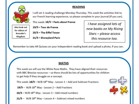 Year 5 Weekly Newsletter 18th May