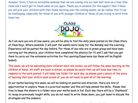Year 1 Weekly Newsletter 8th June