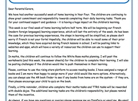Year 4 Weekly Newsletter 18th May