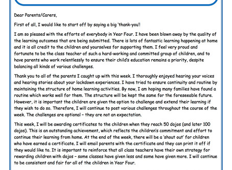 Year 4 Weekly Newsletter 4th May