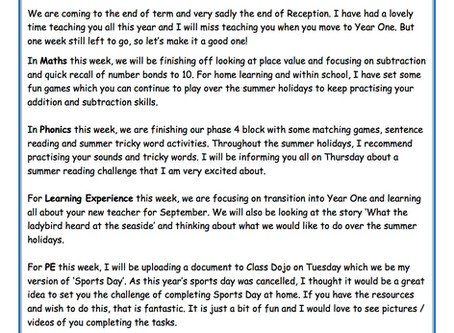 Reception Weekly Newsletter 13th July