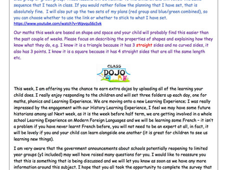Year 1 Weekly Newsletter 18th May