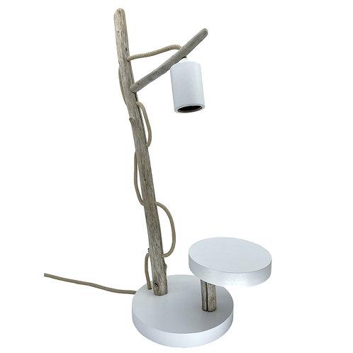 Lampe à poser en bois flotté avec tablette Kalt