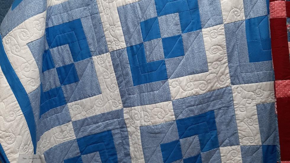 Blue FourSquare Quilt